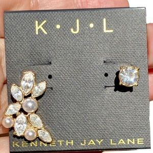 Kenneth Jay Lane Crawler Stud Gold Plated Earrings